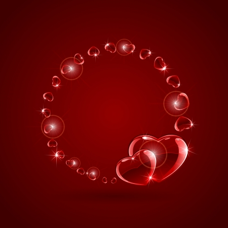 pretty s shiny: Red valentines background with glossy hearts, illustration  Illustration
