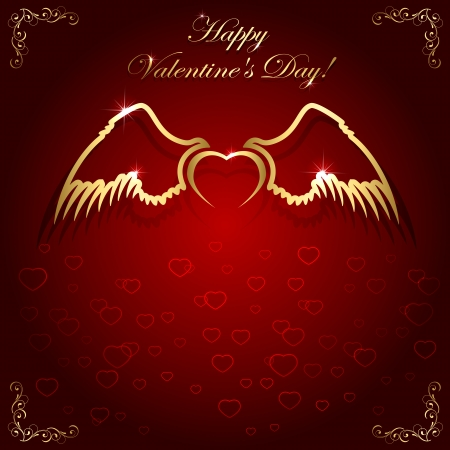 february 14th: Golden heart with wings on red valentines background and floral elements, illustration