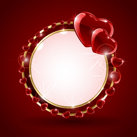 st valentin: Red valentines background with shining hearts in the form of circle, illustration
