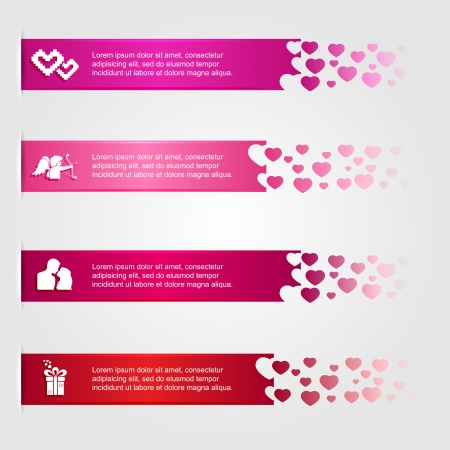 Set of four valentines infographics with hearts and icons, modern design, business options banner, illustration  Vector