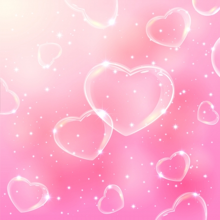 Pink valentines background with stars and soap bubbles in the form of Hearts, illustration