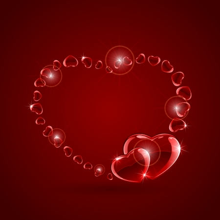 Valentines background with red glossy hearts, illustration  Vector