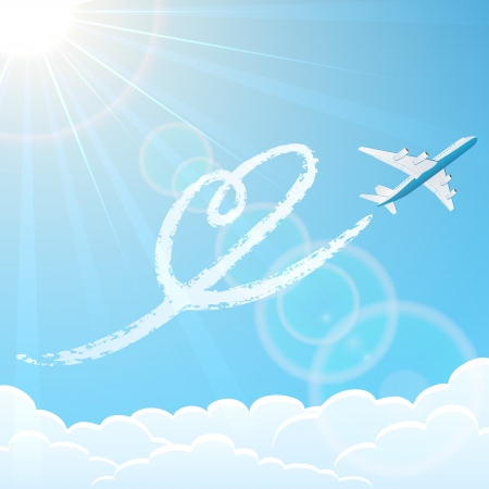 airplane ticket: White airplane on blue sky background with heart, illustration
