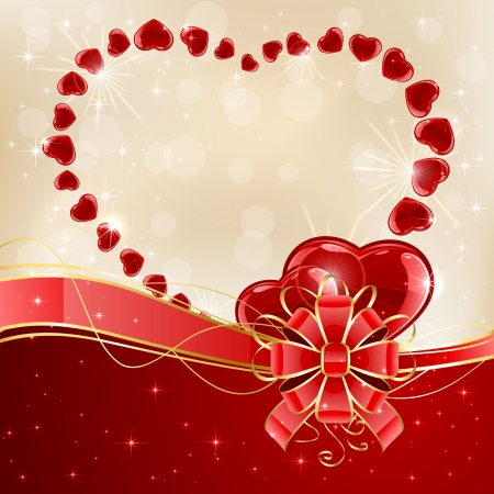 st valentin: Christmas background with shiny hearts and red bow, illustration