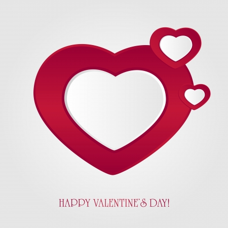 Valentines background with three paper hearts, illustration  Vector