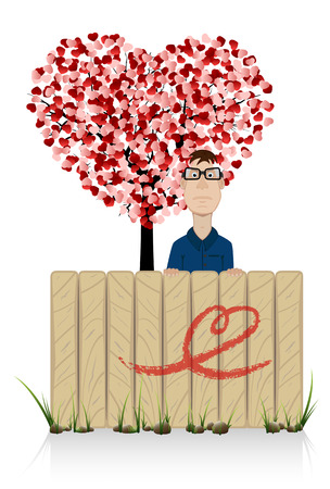 st valentin: The man with tree in the form of heart, illustration