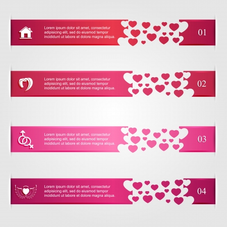 st valentin: Set of pink valentines infographics with hearts and icons, numbered options, modern design, business options banner, illustration