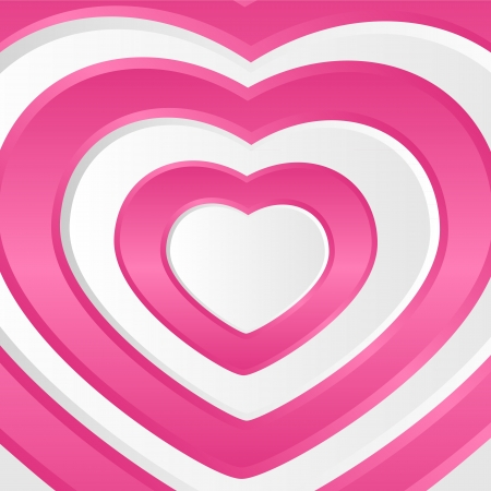 love target: Pink background with set of paper hearts, illustration