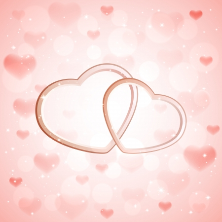 st valentin: Pink sparkling valentines background with two hearts, illustration