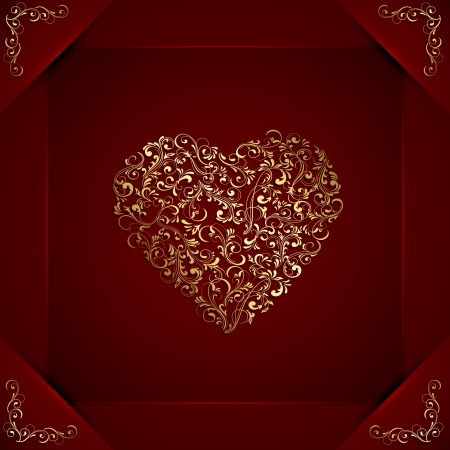 gold star mother's day: Red valentines background with floral heart, illustration