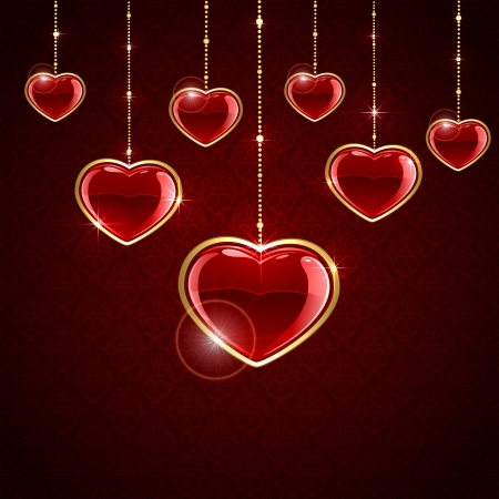 Valentines background with red hanging hearts, illustration  Vector