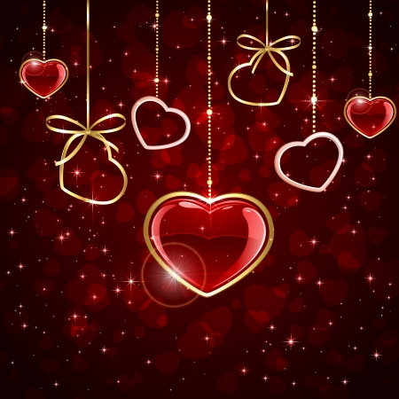 Red valentines background with hanging shiny hearts, illustration  Vector