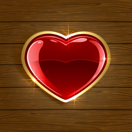 st valentin: Wooden background with red shiny heart, illustration  Illustration