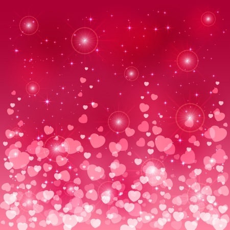 st valentin: Pink background with shiny blurry hearts and stars, illustration