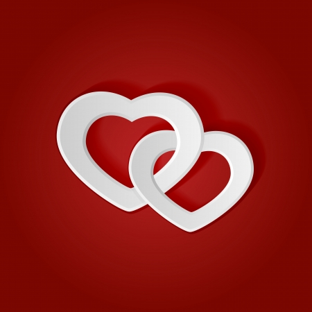 st valentin: Two white paper hearts on a red background, illustration  Illustration