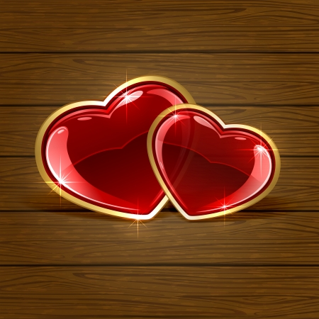Wooden background with two shiny hearts, illustration  Vector
