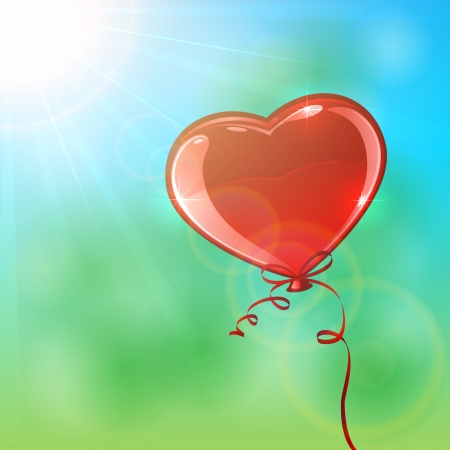 inflating: Red balloon in the form of heart, illustration