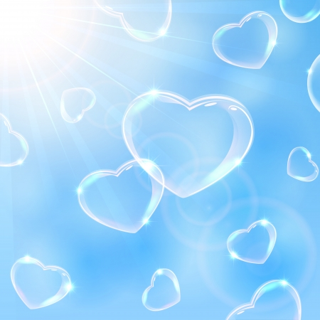 Valentines background with Hearts from soap bubbles on sky background, illustration   Vector
