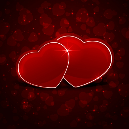 st valentin: Valentines background with two red hearts, illustration