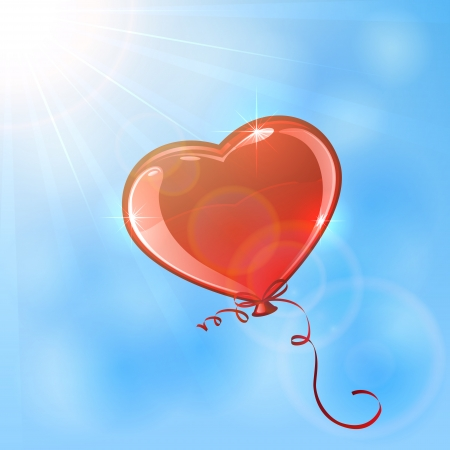 Red balloon in the form of heart on sky background, illustration