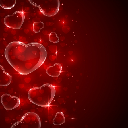 pretty s shiny: Valentines background with Hearts from soap bubbles on red background, illustration   Illustration