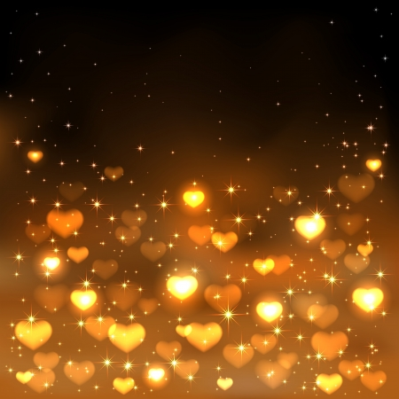 gold star mother's day: Orange background with shiny blurry hearts and stars, illustration