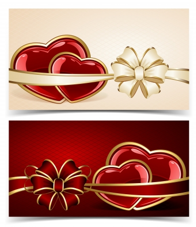 Two cards with hearts and bow, illustration  Vector