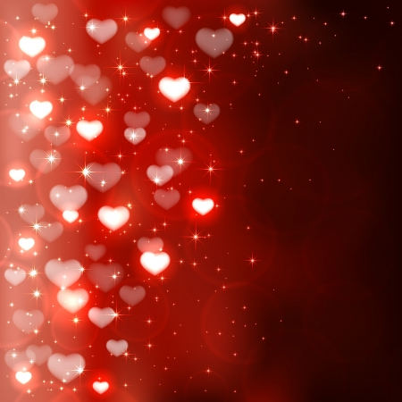 st valentin: Dark background with shiny blurry hearts and stars, illustration
