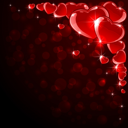 Valentines background with red shine hearts, illustration  Vector