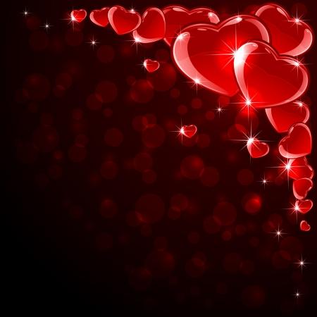st valentin: Valentines background with red shine hearts, illustration  Illustration