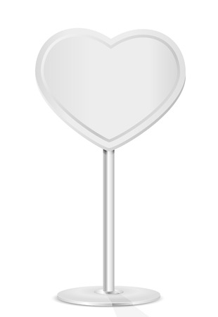 st valentin: Road sign in the form of heart on a stand, illustration  Illustration