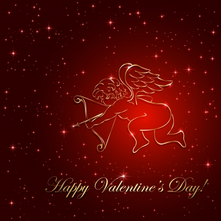 st valentin: Red valentines background with golden cupid and stars, illustration