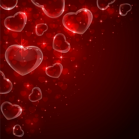Valentines background with Hearts from soap bubbles in corner on red background, illustration   Illustration