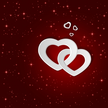 st valentin: White paper hearts on a red background and stars, illustration  Illustration