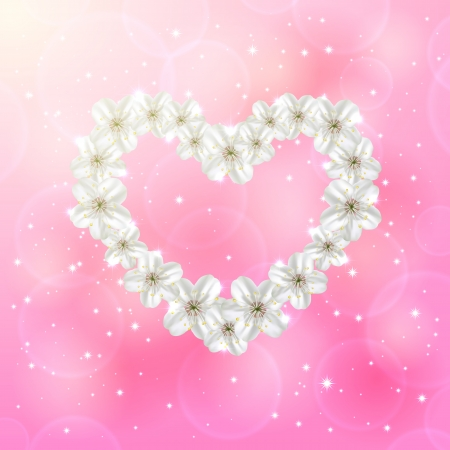 st valentin: Flower in the form of heart on pink background, illustration