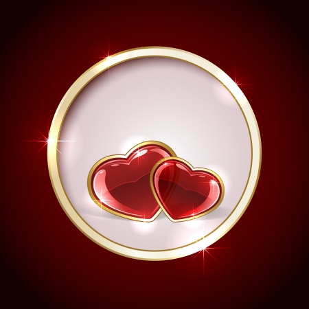 gold star mother's day: Red background with shiny hearts inside circle, illustration  Illustration