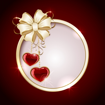 Red valentines background with circle, hearts and ribbon, illustration  Vector