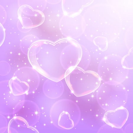 Valentines background with Hearts from soap bubbles on violet background, illustration   Vector