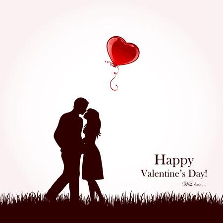 Zwei verliebt mit fliegenden roten Ballon, illustration Standard-Bild - 25331789
