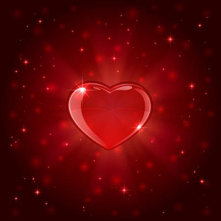 blurry lights: San Valentino con sfondo rosso splendere il cuore e le luci sfocate, illustrazione Vettoriali