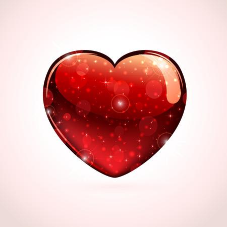 Red shiny valentines heart on a pink background, illustration  Illustration