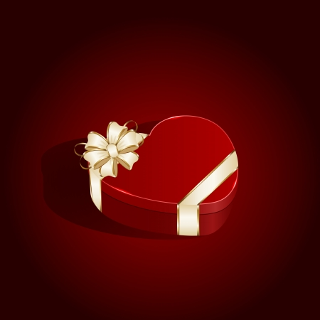 Gift box in the form of heart with bow on red background, illustration Vector