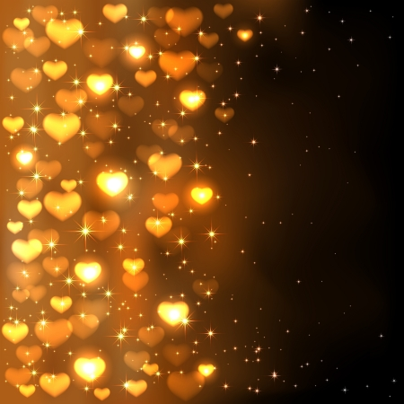 Golden background with shiny blurry hearts and stars, illustration  Vector