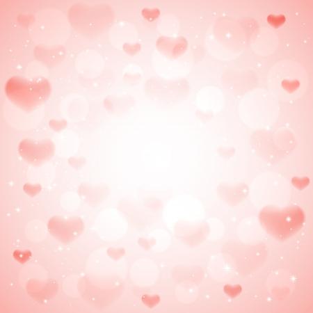 Hearts and shiny stars on pink , illustration