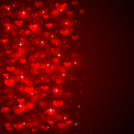 st valentin: Red with shiny blurry hearts and stars, illustration