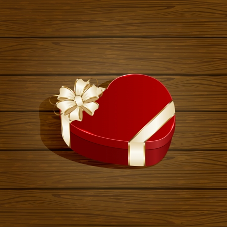 Gift box in the form of heart with bow on wooden background, illustration Vector