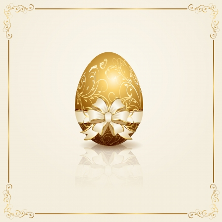Easter egg with decorative elements and bow, illustration  Vector