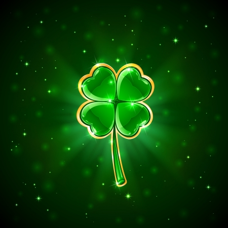 Decorative four-leaf clover on green background, illustration Illustration