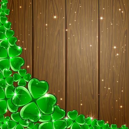 Background of St  Patrick s Day with four-leaf a clover on wooden surface, illustration  Vector