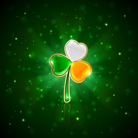 Three-colored clover leaf on green background, illustration  Vector